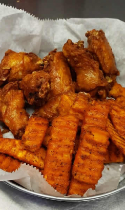 Get buffalo wings at the Ice Cracking Lodge